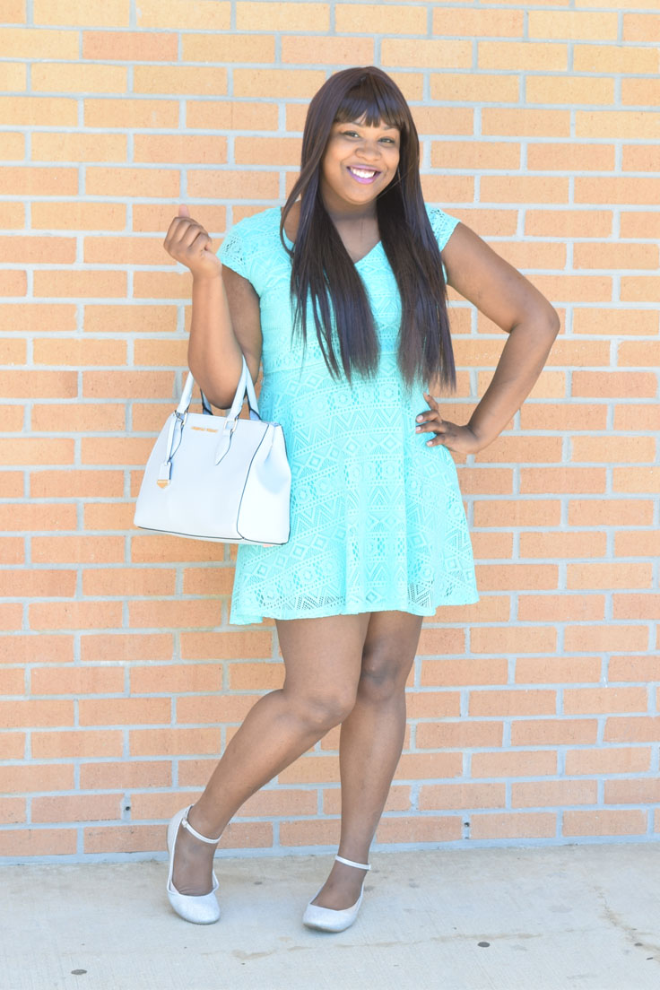 Spring Fashion Outfits: Mint Lace Dress and Christian Siriano Purse | by Desire Anne, Alabama Fashion+Beauty+Music blogger