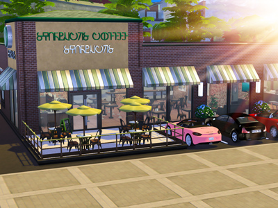 Sims 4 Starbucks Stop Motion | Lot Download with CC | Desire Anne Gaming