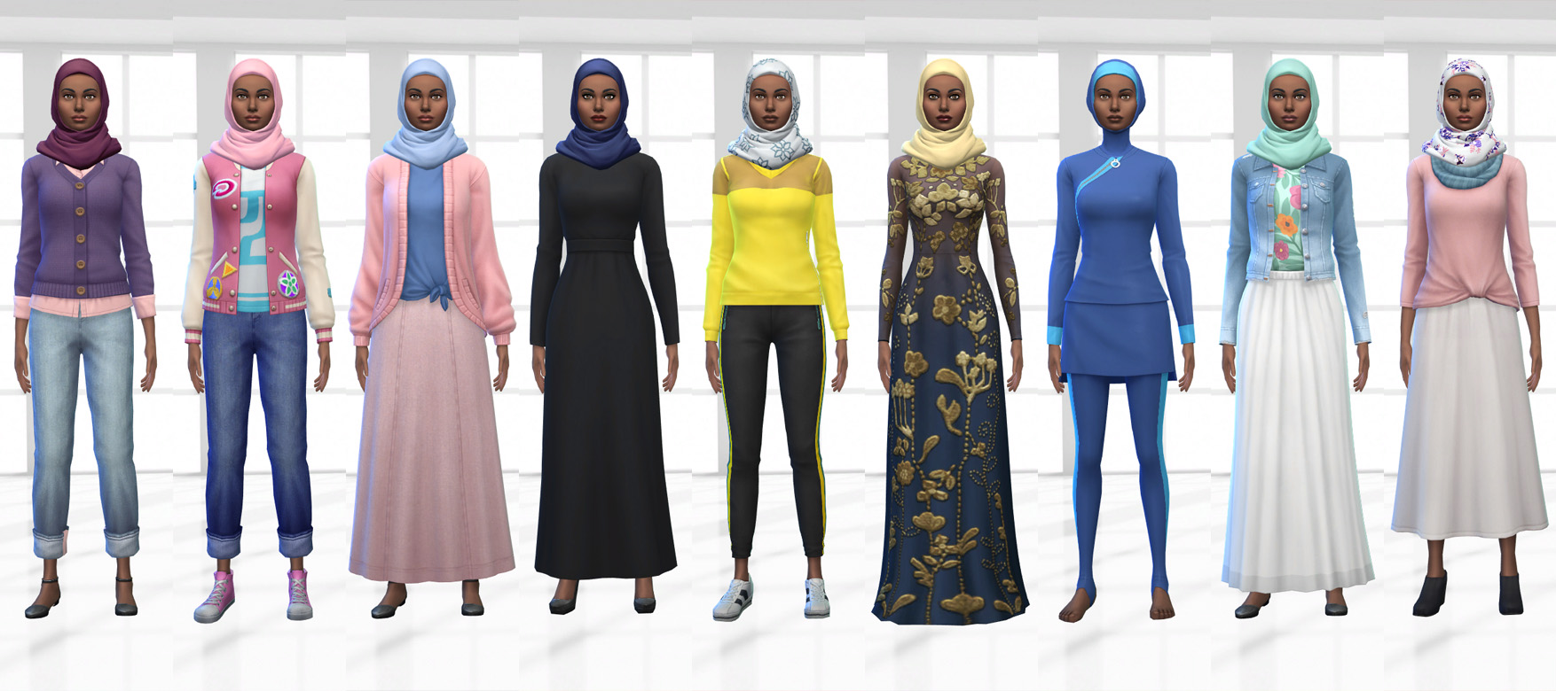 Sims 4 CC Custom Content Haul | Hijabi University Student Lookbook | Desire Anne Gaming